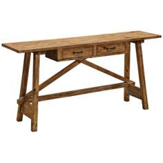 Amber Pine 2-Drawer Garden Table