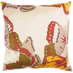 "Butterfly 18"" Square Decorative Pillow With Hidden Zipper"