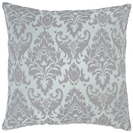 "Decorative 18"" Square Blue Damask Pillow With Hidden Zipper"