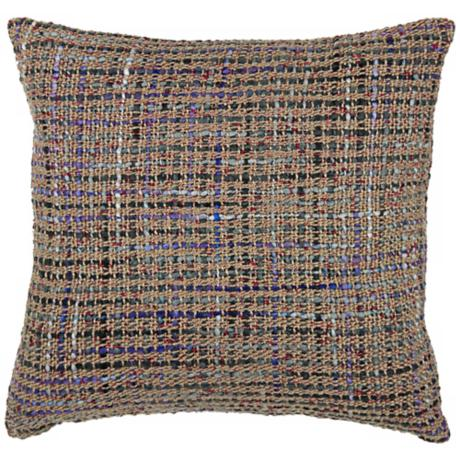 "Tweed 18"" Square Decorative Pillow With Hidden Zipper"