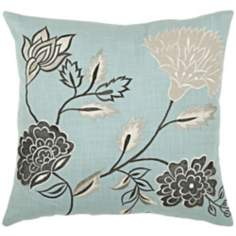 "Floral 18"" Square Decorative Pillow With Hidden Zipper"