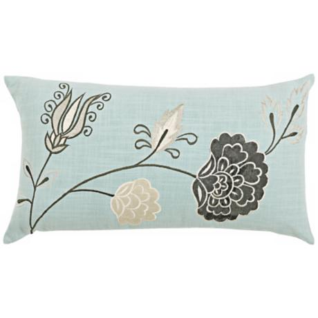 "Aqua 21"" Wide Decorative Pillow With Hidden Zipper"