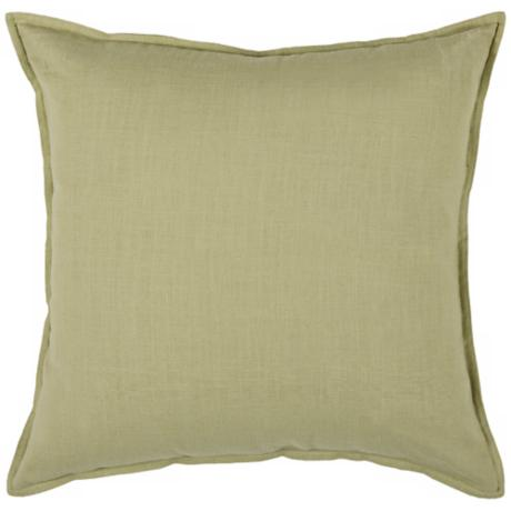 "Green 20"" Square Decorative Pillow With Hidden Zipper"