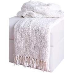 Loom Woven White Throw With Fringe