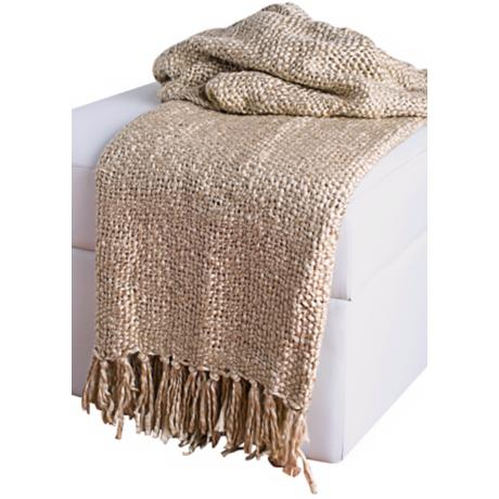Loom Woven  Beige Throw With Fringe