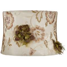 Ivory Embroidered Drum Shade 13x14x10 (Spider)