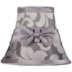 Grey Damask With Bow Clip Shade 3x6x5 (Clip-On)