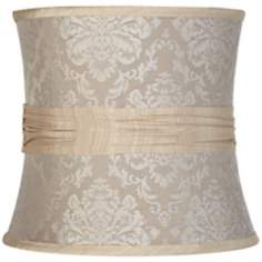 Beige Damask Pinched Drum Shade 11x12x11 (Spider)