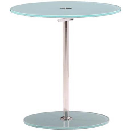 Zuo Radical Adjustable Chrome and Frosted Glass Side Table