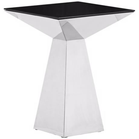 Zuo Tyrell Stainless Steel and Black Glass Side Table