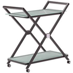 Zuo Xert Modern Smoke and Glass Serving Cart on Wheels