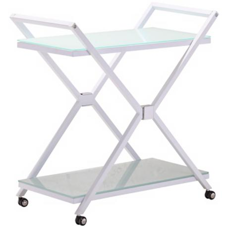 Zuo Xert Modern White and Glass Serving Cart on Wheels