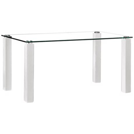 Zuo Flag White Leatherette and Glass Dining Table