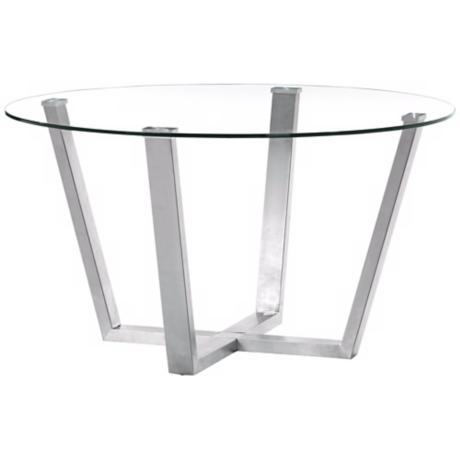 Zuo Brush Clear Glass Modern Dining Table