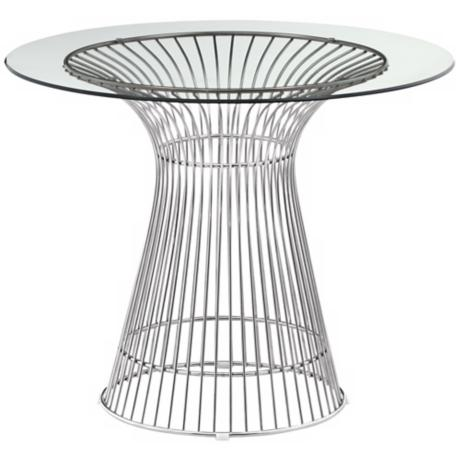 Zuo Whitby Glass and Chrome Dining Table
