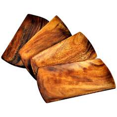 Pacific Merchants Set of 4 Acaciaware® Wood Appetizer Trays