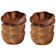Pacific Merchants Acaciaware® Set of 6 Flared Serving Bowls