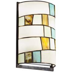 "Kichler Mihaela 12"" High Art Glass and Cut Stone Wall Sconce"