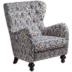Soft Blue Ikat Pattern Armchair
