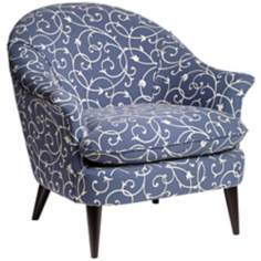 Conli Scrolling Vine Blue and White Armchair
