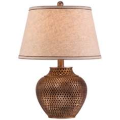 Hammered Pot  Bronze Table Lamp