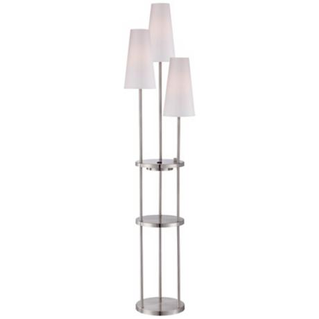 Lite Source Vidal Floor Lamp with Shelves and Power Outlet