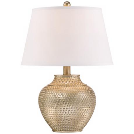 Hammered Pot Antique Silver Table Lamp