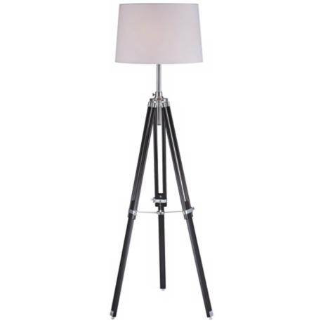 Lite Source Jiordano Tripod Black Wood Floor Lamp