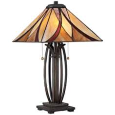 Quoizel Ashville Bronze Glass Shade Table Lamp