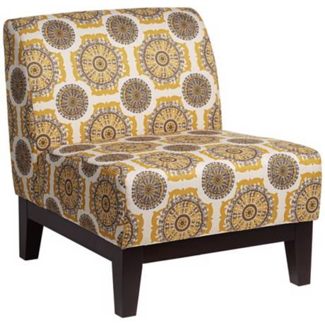 Petra Retro Pinwheel Dijon Armless Accent Chair