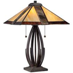 Quoizel Destiny Bronze Glass Shade Table Lamp