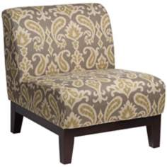 Petra Ikat Grey Fabric Armless Accent Chair