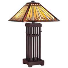 Quoizel Tanner Glass Shade Open Base Table Lamp
