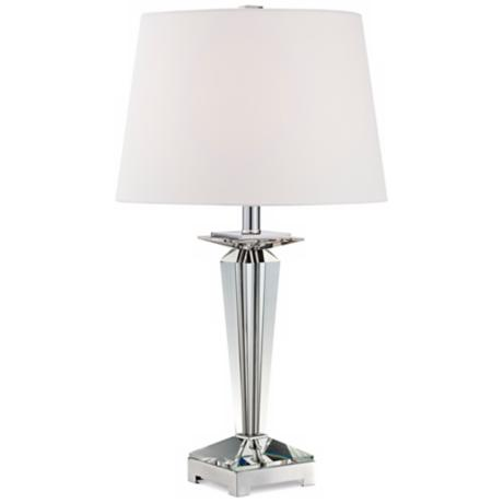 Tapered Crystal Column and Chrome Base Table Lamp