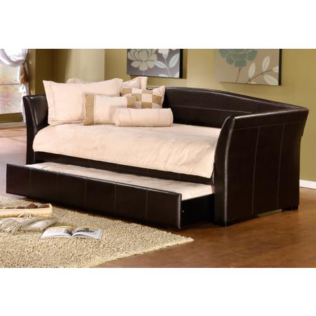 Hillsdale Montgomery Brown Faux Leather Trundle Daybed