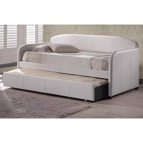 Hillsdale Springfield White Faux Leather Trundle Daybed