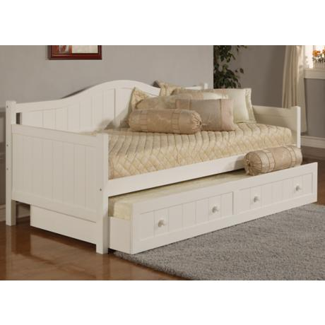 Hillsdale Staci White Wood Daybed with Trundle Drawer