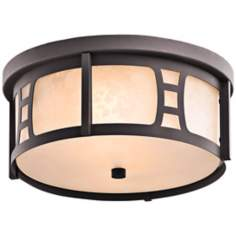 "Kichler Oak Bluffs 12 1/4"" Wide Bronze Outdoor Ceiling Light"