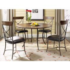 Hillsdale Cameron Round Table and X-Back 5-Piece Dining Set