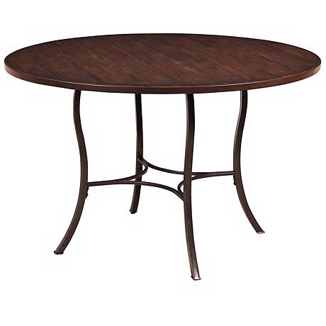 Hillsdale Cameron Round Metal and Wood Dining Table