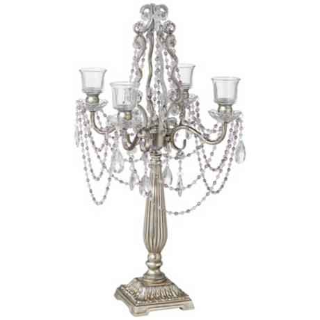 Antique Silver 4-Arm Crystal Candelabra