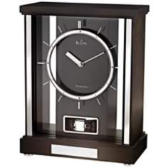 "Mercer 10 1/2"" High Black Walnut Finish Bulova Mantel Clock"