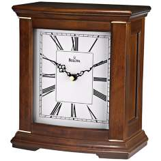 "Melodia 9 1/4"" High Walnut Finish Bulova Mantel Clock"