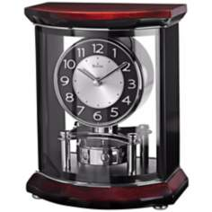 "Gentry 10 1/2"" High Wood And Glass Bulova Mantel Clock"