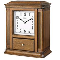 "Empress 11 1/2"" High Walnut Finish Bulova Jewelry Box Clock"