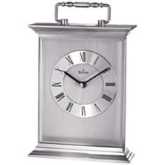 "Newport 9"" High Brushed Aluminum Bulova Tabletop Clock"