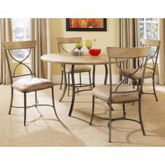 Hillsdale Charleston Round and X-Back Metal Dining Set of 5