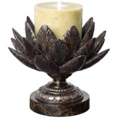 Bronze and Marble Lotus Candle Holder