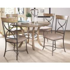 Hillsdale Charleston Round and X-Back Wood Dining Set of 5