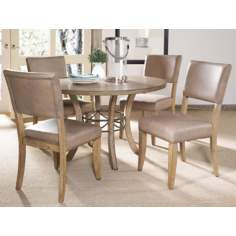 Hillsdale Charleston Round Wood and Parsons Dining Set of 5